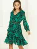 Зеленое платье с принтом и воланом по низу 52939, фото 3