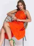 Терракотовое платье с асимметричной юбкой 48082, фото 1