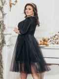Чёрное платье из люрекса с фатиновой юбкой 43290, фото 2