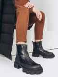 Зимние ботинки из искусственной кожи на молнии чёрные 51736, фото 1