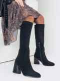 Зимние сапоги из искусственной замши на устойчивом каблуке чёрные 51734, фото 1