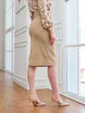 Бежевая юбка из вельвета прямого кроя с разрезом спереди 54015, фото 2