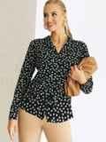 Черная рубашка свободного кроя из софта с принтом 54650, фото 2
