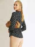 Черная рубашка свободного кроя из софта с принтом 54650, фото 4