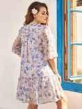 Платье-трапеция батал из шифона с принтом бежевое 54396, фото 3