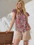 """Шифоновая блузка с принтом и рукавом """"крылышко"""" красная 49110, фото 2"""