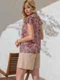 """Шифоновая блузка с принтом и рукавом """"крылышко"""" красная 49110, фото 3"""