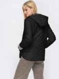 Стеганая куртка с трикотажными манжетами черная 53211, фото 2