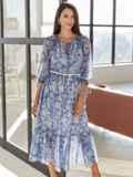 Шифоновое платье-миди с принтом и воланом по низу синее 54815, фото 2