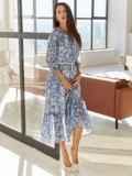 Шифоновое платье-миди с принтом и воланом по низу синее 54815, фото 3
