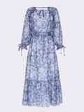 Шифоновое платье-миди с принтом и воланом по низу синее 54815, фото 5