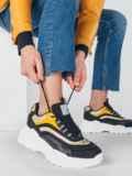 Чёрные кроссовки со вставками на массивной подошве 51383, фото 1
