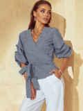 Серая блузка на запах в клетку с объемными рукавами 54412, фото 1