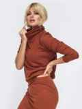 Терракотовый костюм из юбки и кофты с высоким воротом 50330, фото 2