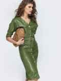 Платье из эко-кожи с накладными карманами цвета хаки 44952, фото 4