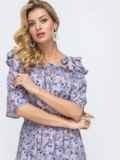 Платье-макси с принтом и напуском по талии сиреневое 46832, фото 4