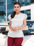 """Шелковая блузка с рукавом """"крылышко"""" белая 49651, фото 1"""