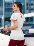 """Шелковая блузка с рукавом """"крылышко"""" белая 49651, фото 2"""