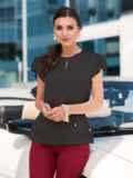 """Шелковая блузка с рукавом """"крылышко"""" чёрная 49652, фото 1"""