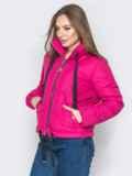 Укороченная куртка с карманами на кнопках розовая 20070, фото 2