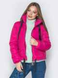 Укороченная куртка с карманами на кнопках розовая 20070, фото 4