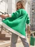Вязаный кардиган на пуговицах с контрастными вставками зеленый 55038, фото 5