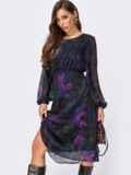 Шифоновое платье в цветочный принт с завышенной талией черное 55402, фото 2