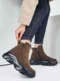 Зимние ботинки из искусственной замши цвета хаки 51744, фото 1