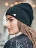 Зимняя шапка без помпона с нитью люрекса черная  14734, фото 2