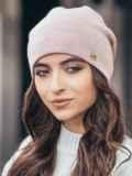 Зимняя шапка без помпона с нитью люрекса пудровая 14731, фото 1