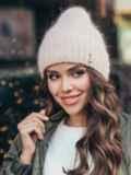 Зимняя шапка-бини на флисе пудровая 51090, фото 1