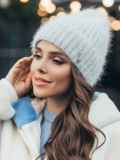 Зимняя шапка-бини на флисе серая 51091, фото 1