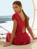 Красное платье с оригинальным вырезом по спинке 54284, фото 1