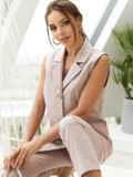 Льняной костюм из жилета и укороченных брюк пудровый 54129, фото 3