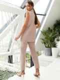 Льняной костюм из жилета и укороченных брюк пудровый 54129, фото 4