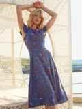 Синее платье с оригинальным вырезом по спинке 54283, фото 2