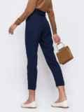 Тёмно синие укороченные брюки с подворотами 48674, фото 2