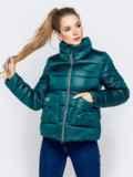 Стёганая куртка с накладными карманами зеленая 40728, фото 2