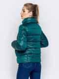 Стёганая куртка с накладными карманами зеленая 40728, фото 4