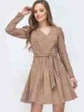 Вельветовое платье с v-вырезом и расклешенной юбкой бежевое 45629, фото 1