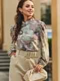 Блузка прямого кроя с принтом и воротником-стойкой розовая 54607, фото 2