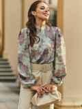 Блузка прямого кроя с принтом и воротником-стойкой розовая 54607, фото 3