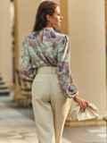 Блузка прямого кроя с принтом и воротником-стойкой розовая 54607, фото 4