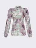 Блузка прямого кроя с принтом и воротником-стойкой розовая 54607, фото 5