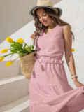Платье из прошвы с многоярусной юбкой пудровое 54458, фото 1