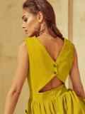 Расклешенное желтое платье отрезное по талии 53916, фото 1