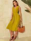 Расклешенное желтое платье отрезное по талии 53916, фото 3
