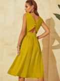 Расклешенное желтое платье отрезное по талии 53916, фото 4