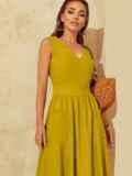 Расклешенное желтое платье отрезное по талии 53916, фото 5
