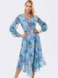 Шифоновое платье с принтом и асимметричным подолом голубое 53050, фото 1